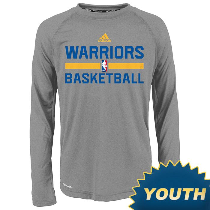Golden State Warriors adidas Youth Long Sleeve CLIMALITE Practice Graphic  Tee - Grey 018a6cdc5