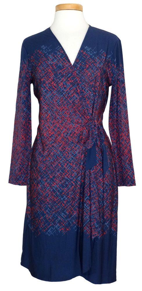 NEW BCBG Max Azria Womens Dress ADELE Wrap Jersey Ink Blue Red Sz L ...