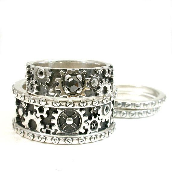his and hers steampunk gear ring set sterling silver and black diamond - Steampunk Wedding Rings
