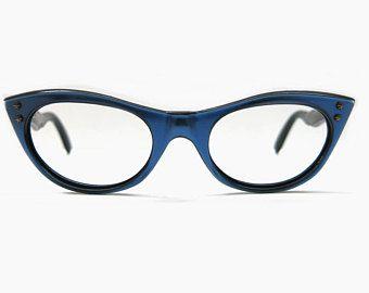 07731b4e9e Vintage 50s Cat Eye Glasses 1950s Eyeglass Frame Gray Black Aluminum  Browline Clear Horn Rim 44 22 Optical USA