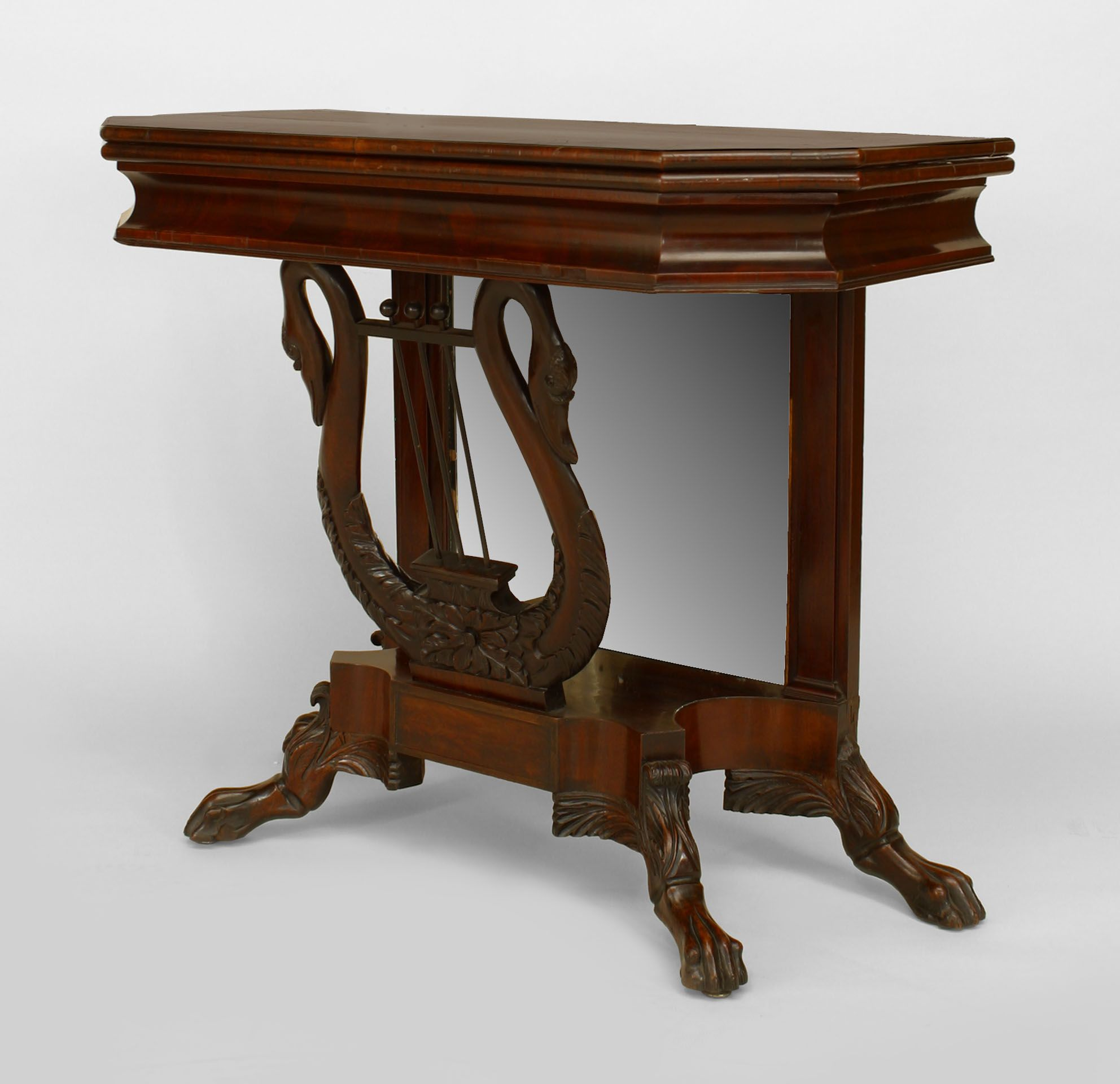 American empire mahogany flip top console table with mirror back american empire mahogany flip top console table with mirror back and lyre and swan base geotapseo Image collections