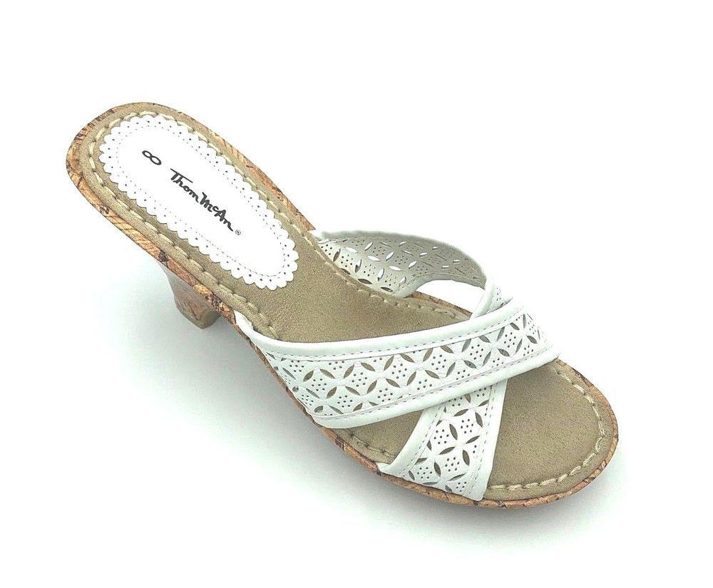 9f9dda48ca7b Thom McAn Women s Elise White Tan Cork Wedge Sandal  fashion  clothing   shoes