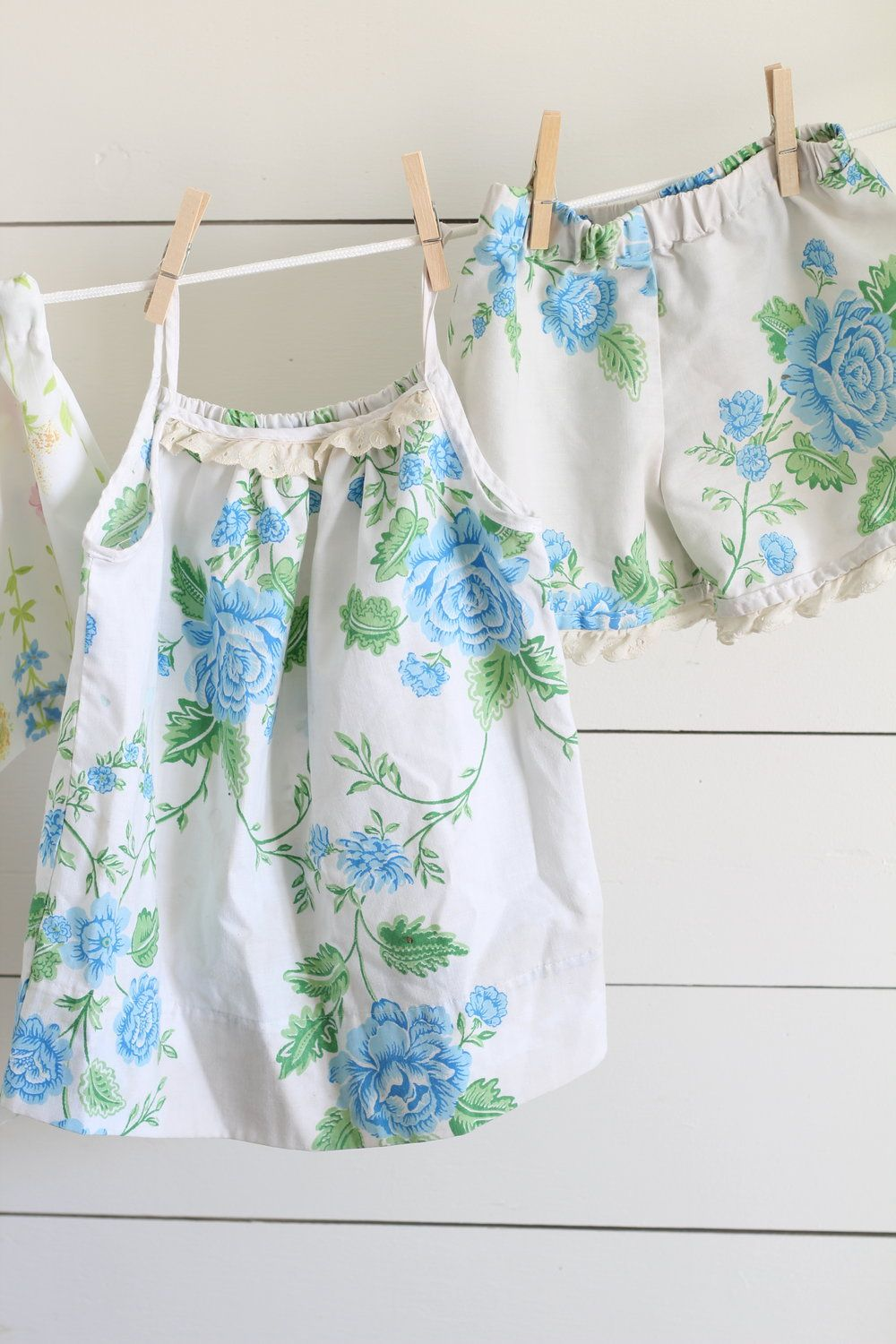 How to Sew Girl's Pajamas from Vintage Sheets - Farmhouse on Boone
