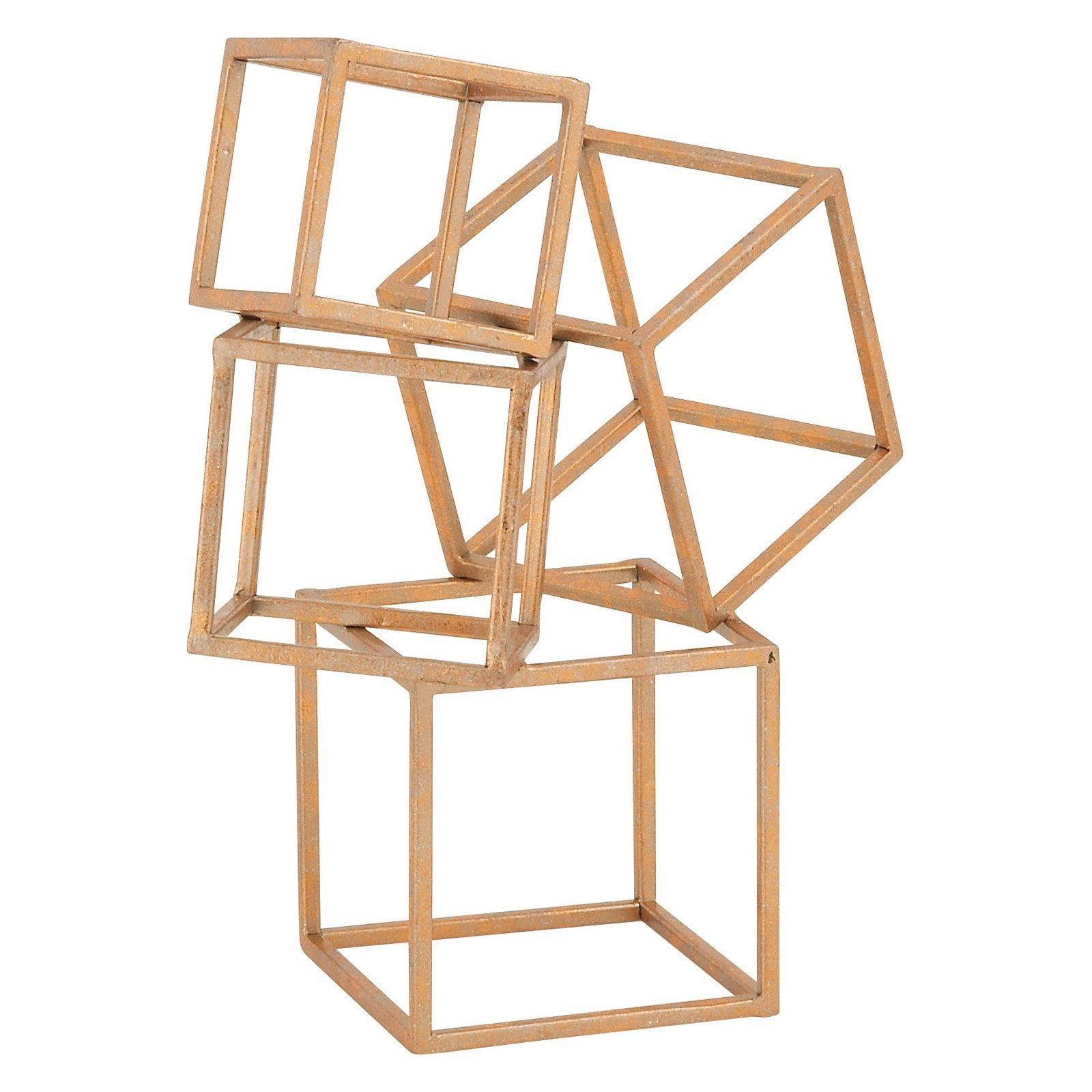 DecMode Metal Table Decor Sculpture is part of Metal Home Accessories Living Rooms - Dimensions 11W x 5D x 14H in   Iron construction  Stacked, cubed design  Rough and buffed copper finish  Weight 1 54 lbs   Bring some simple, geometric flair to your living room or bedroom design with the DecMode Metal Table Decor Sculpture  This stunning sculpture is made from iron slats, featuring a series of hollow cubes (in various sizes) stacked sturdily atop one another  The sculpture stands stably on its own and comes finished in a rough copper finish for a weathered look