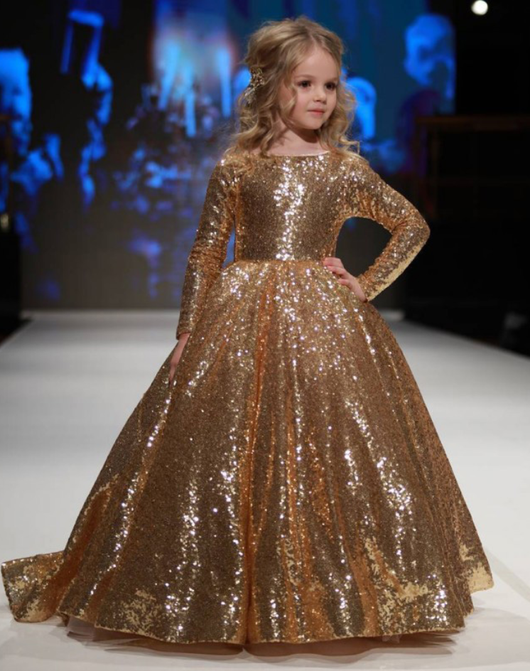 ea65c5ecc168 Gold Sequins Flower Girl Dress