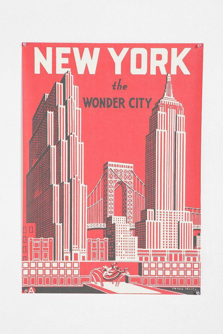 Wooden Print Dowel Hanger New York Journal Reds Poster Decal Wall Art