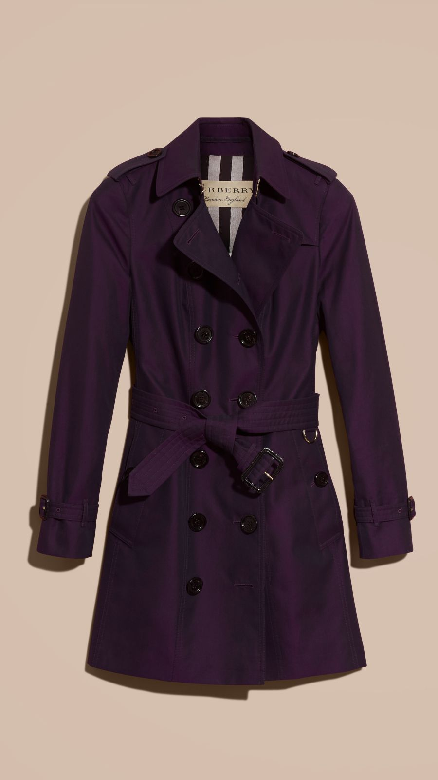 Dark purple Cotton Gabardine Trench Coat Dark Purple - Image 4