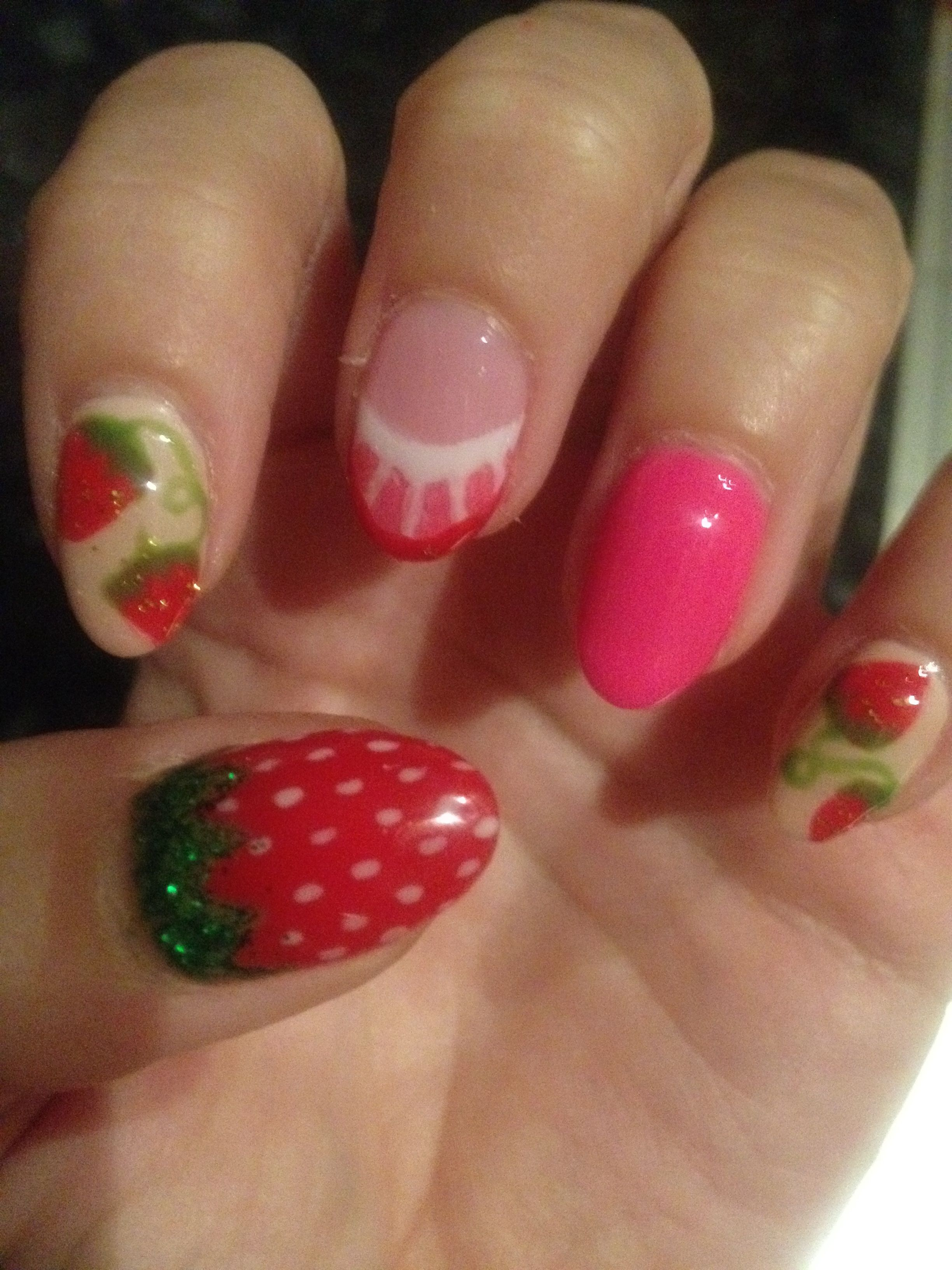 Strawberry nails by Hayley @ diamond beauty in Lincoln