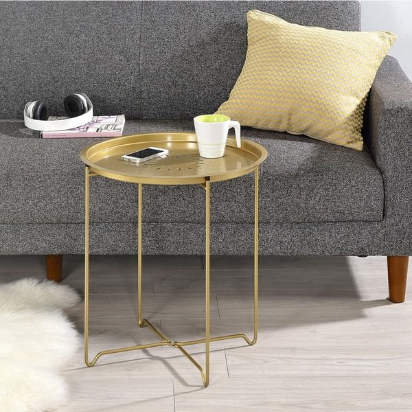 Round Fold Down Accent Table Overstockcom Shopping The Best