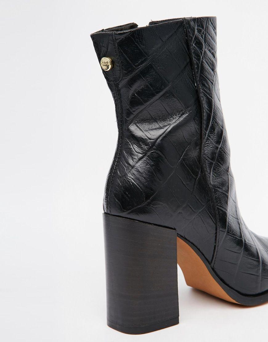 Image 3 of Carvela Slither Black Snake Effect Block Heel Boots