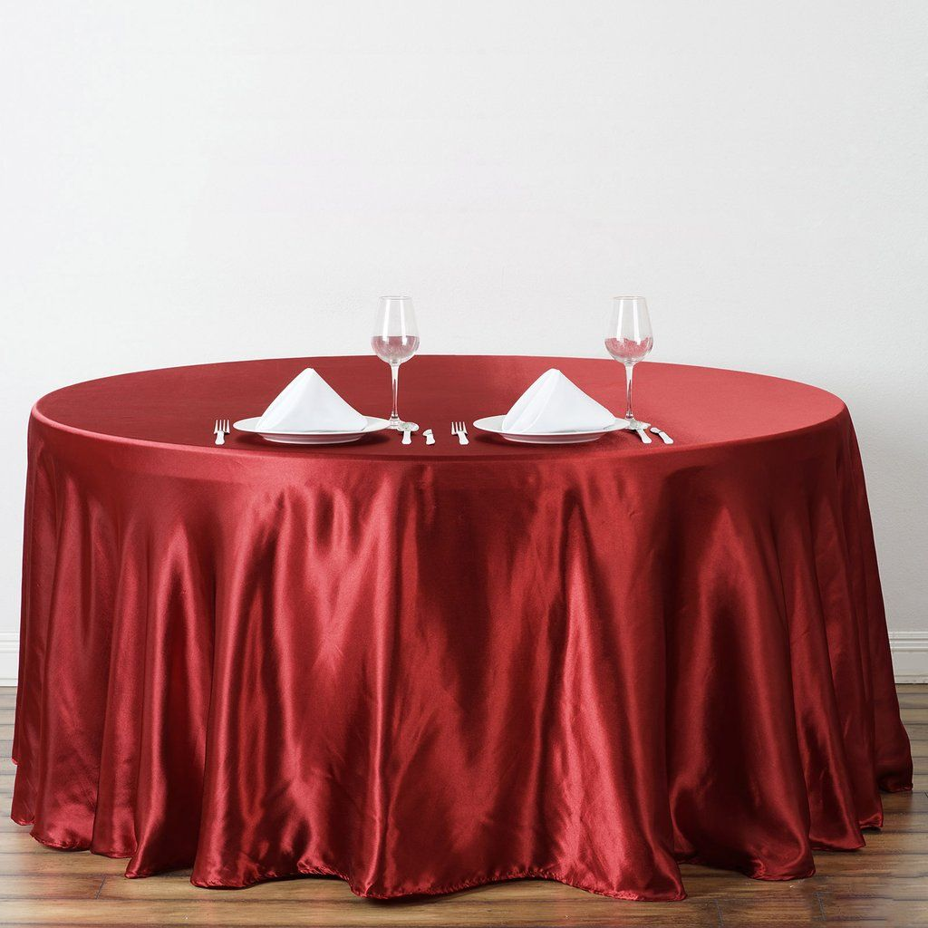 120 Wine Satin Round Tablecloth In 2020 Elegant Table Settings Table Linens Round Tablecloth