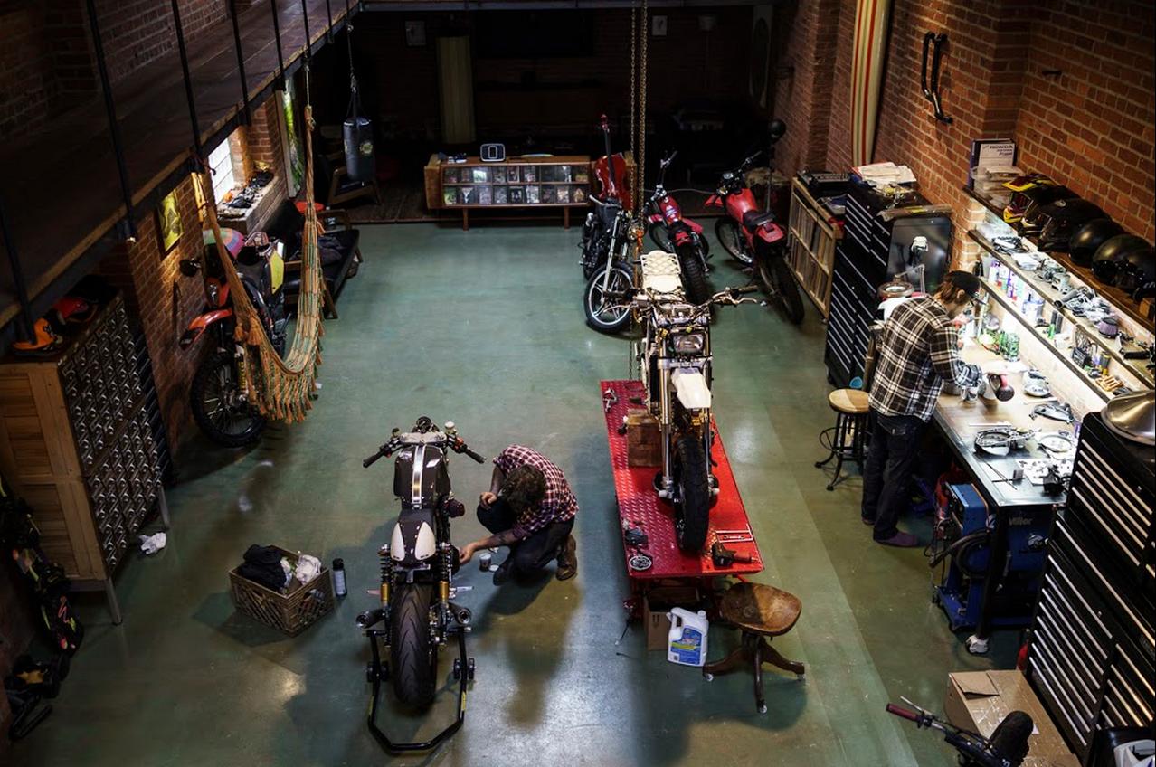 Cool motorcycle garage