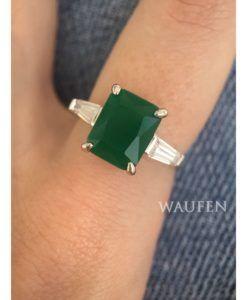 anel pedra grande verde zirconia semi joia prata   Anéis Joias e ... 54b0cce6bf