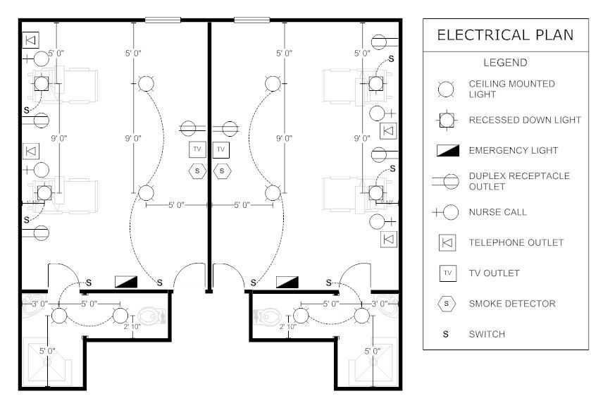 Patient room electrical plan floor plans pinterest for Blueprint drawing program