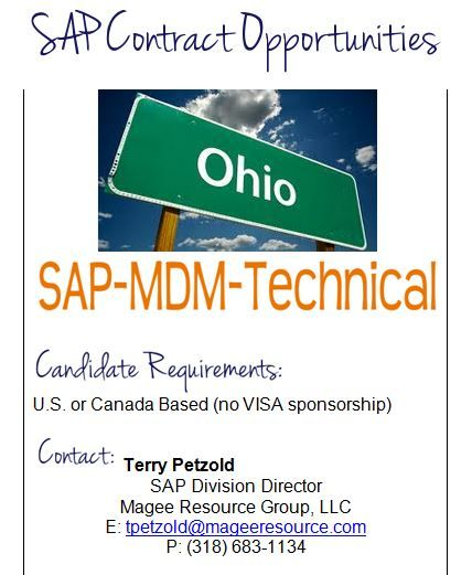 Contract Position Sap Mdm Technical In Columbus