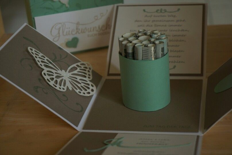 Explosionsbox zur Hochzeit / Geldgeschenk in Su Farben taupe und minzmakrone