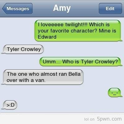 Really, fangirl? How could you forget that Tyler Crowley almost hit Bella. Be ashamed.