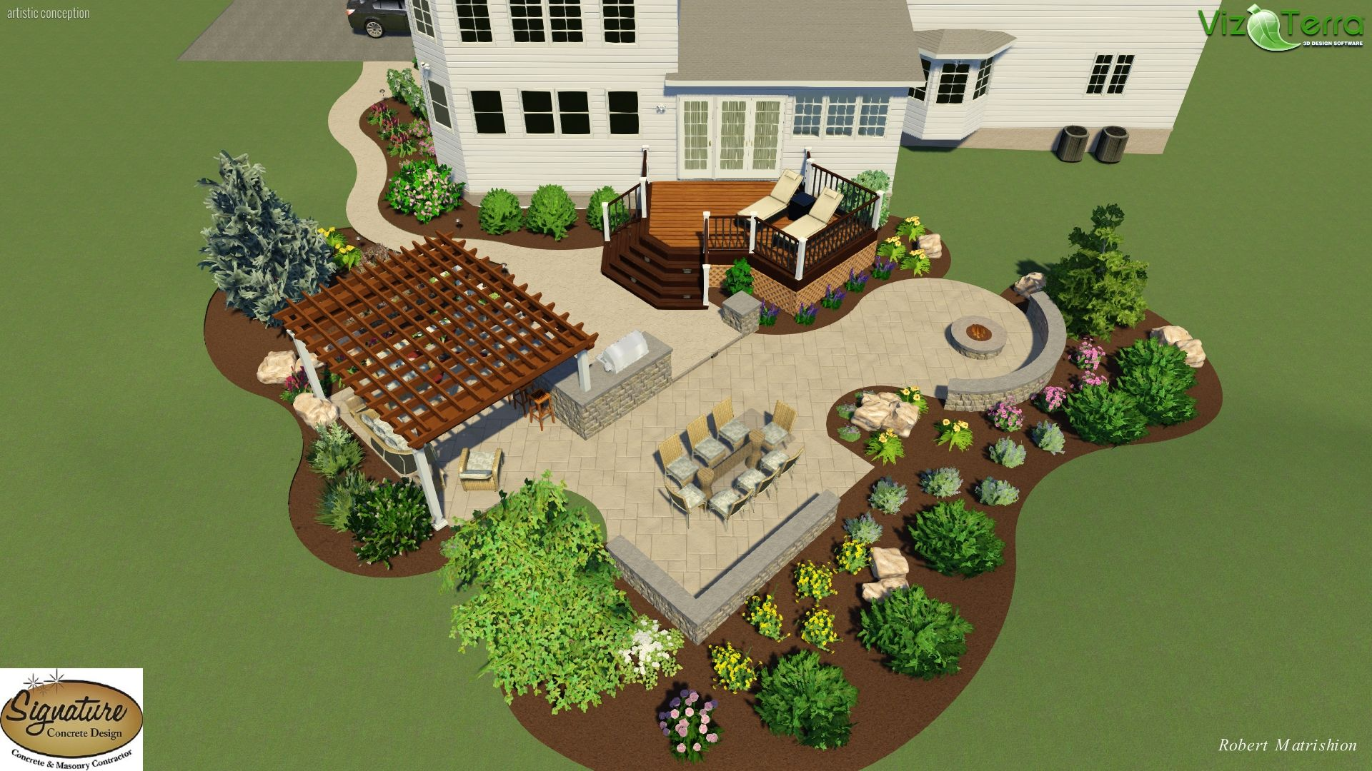 Landscape Design Of A Two Tier Stamped Concrete Patio And Deck