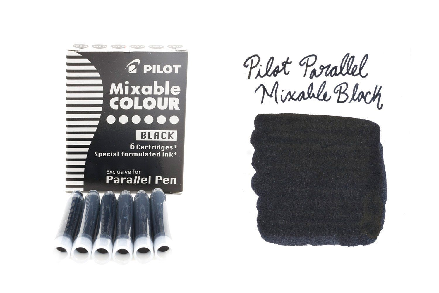 Use these ink cartridges in a Pilot Parallel fountain pen. When used with a second pen, you can achieve gradated color variation with these mixable inks. This box includes 6 black fountain pen ink cartridges.