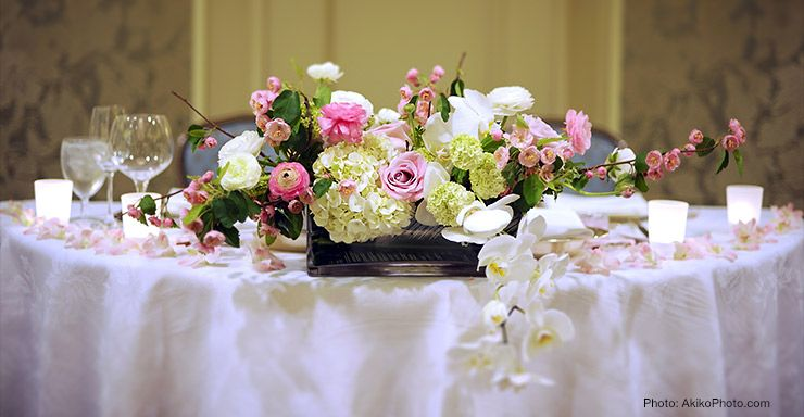 wedding flower arrangements for long table on Picture of Wedding