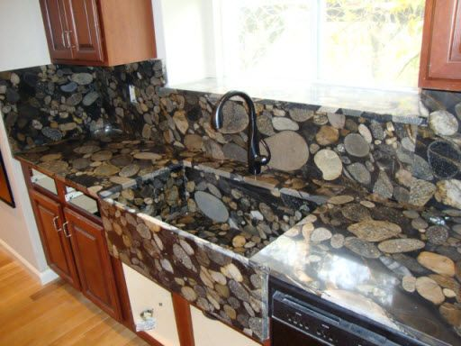 Nero Marinace Gold Granite Farmhouse Sink And Countertops With