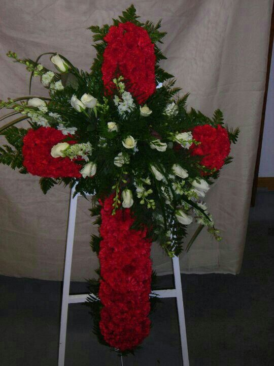 Cross Spray Of Red Carnations With A Spray Of White Snap Dragons White Roses Across It Funeral Flower Arrangements Casket Flowers Funeral Floral Arrangements