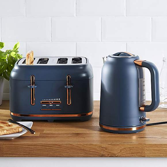 Dunelm 4 Slice Matt Navy Copper Toaster Navy And Copper Black And Copper Kitchen Blue Kitchen Accessories