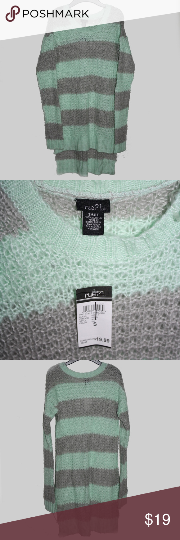 New! rue21 gray & green stripe tunic sweater! nwt | Tunic sweater ...