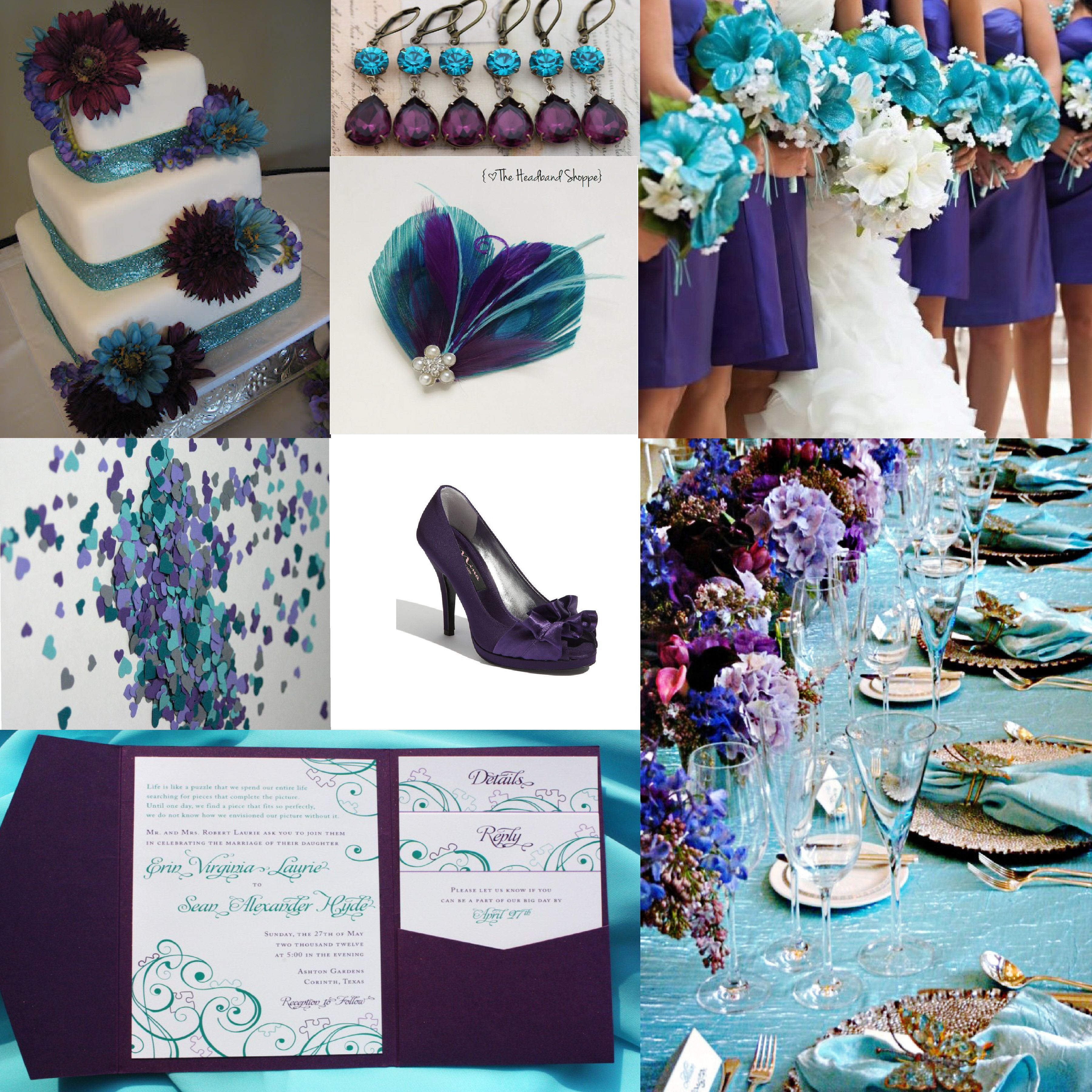 ♥aqua + purple wedding inspiration . Really like these colors ...