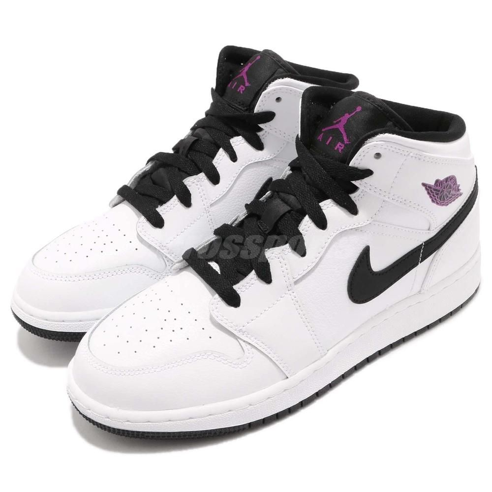 Nike Air Jordan 1 Mid GG I White Fuchsia Blast Black Kid Women Shoes  555112-138  AirJordan  Jordan bcea411cec