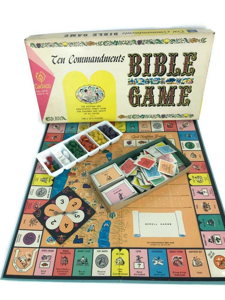 Vintage 1966 Ten Commandments Bible Christian Board Game All Faiths Cadaco  #Cadaco | Board games, Vintage board games, Bible study activities
