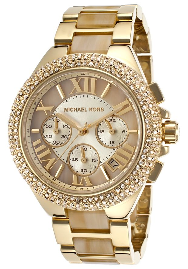 2939d0075c6b Michael Kors Camille Chronograph Champagne Dial Gold-tone and Horn Acetate  Ladies Watch MK5902