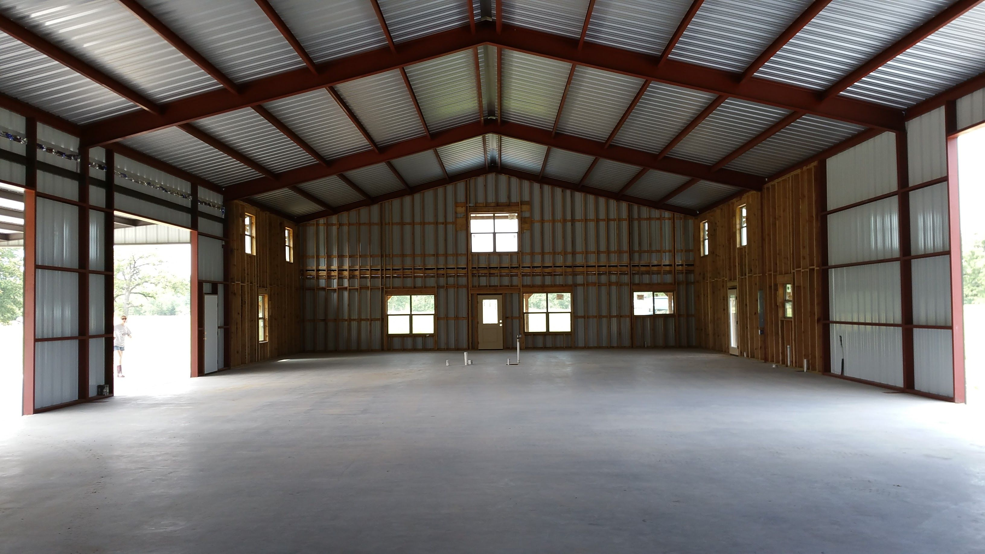 Barndo inside view 50x100 Metal building homes, Pole