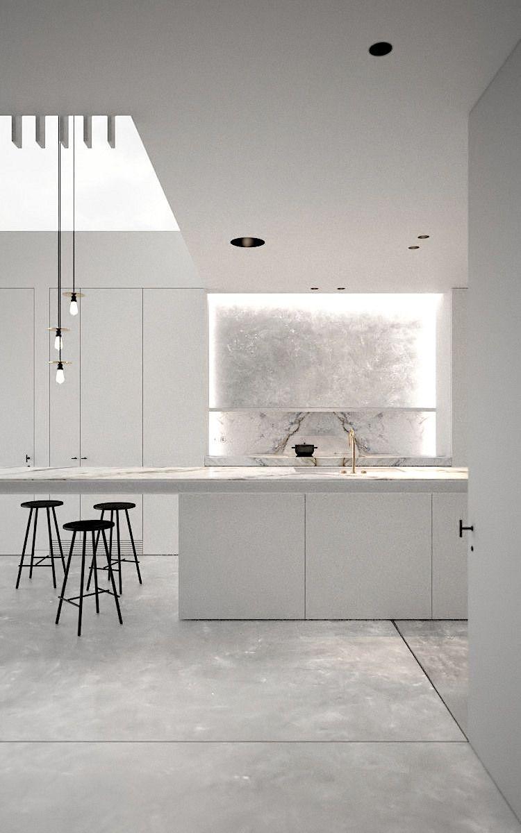 Best White And Marble Minimalist Kitchen Ad Office 640 x 480