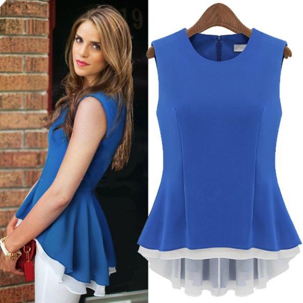 Blue New Quality Sleeveless Irregular Hem High-low Tops T-Shirts Blouse
