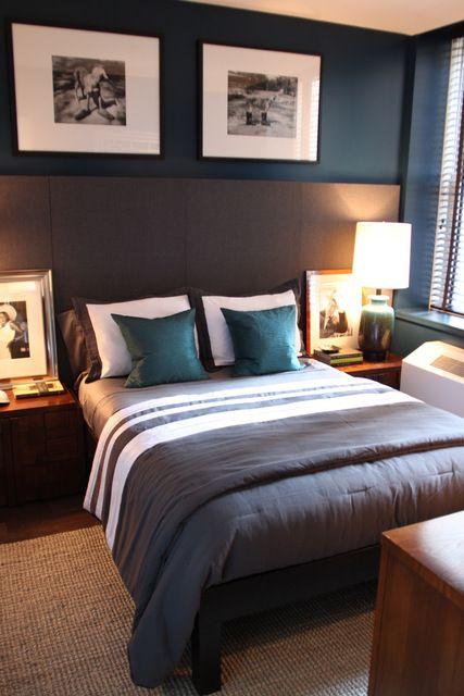 teal brown adult bedroom   Bedroom: Behr, Restless Sea UL230-23  Entry: Behr, Cracked Pepper UL260-1