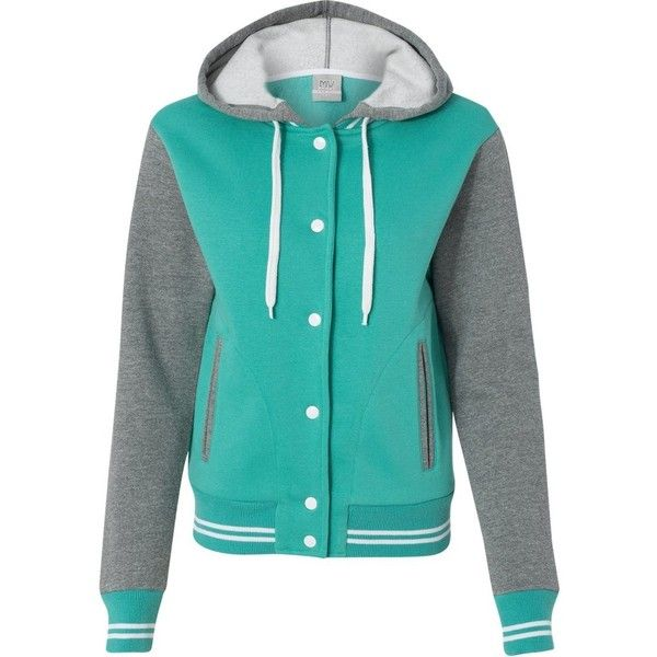 MV Sport Women's Varsity Sweatshirt, X-Large, Jade/Graphite at Amazon... ($42) ❤ liked on Polyvore featuring tops, hoodies, sweatshirts, blue sweatshirt, sport top, blue top, sport sweatshirts and sports tops
