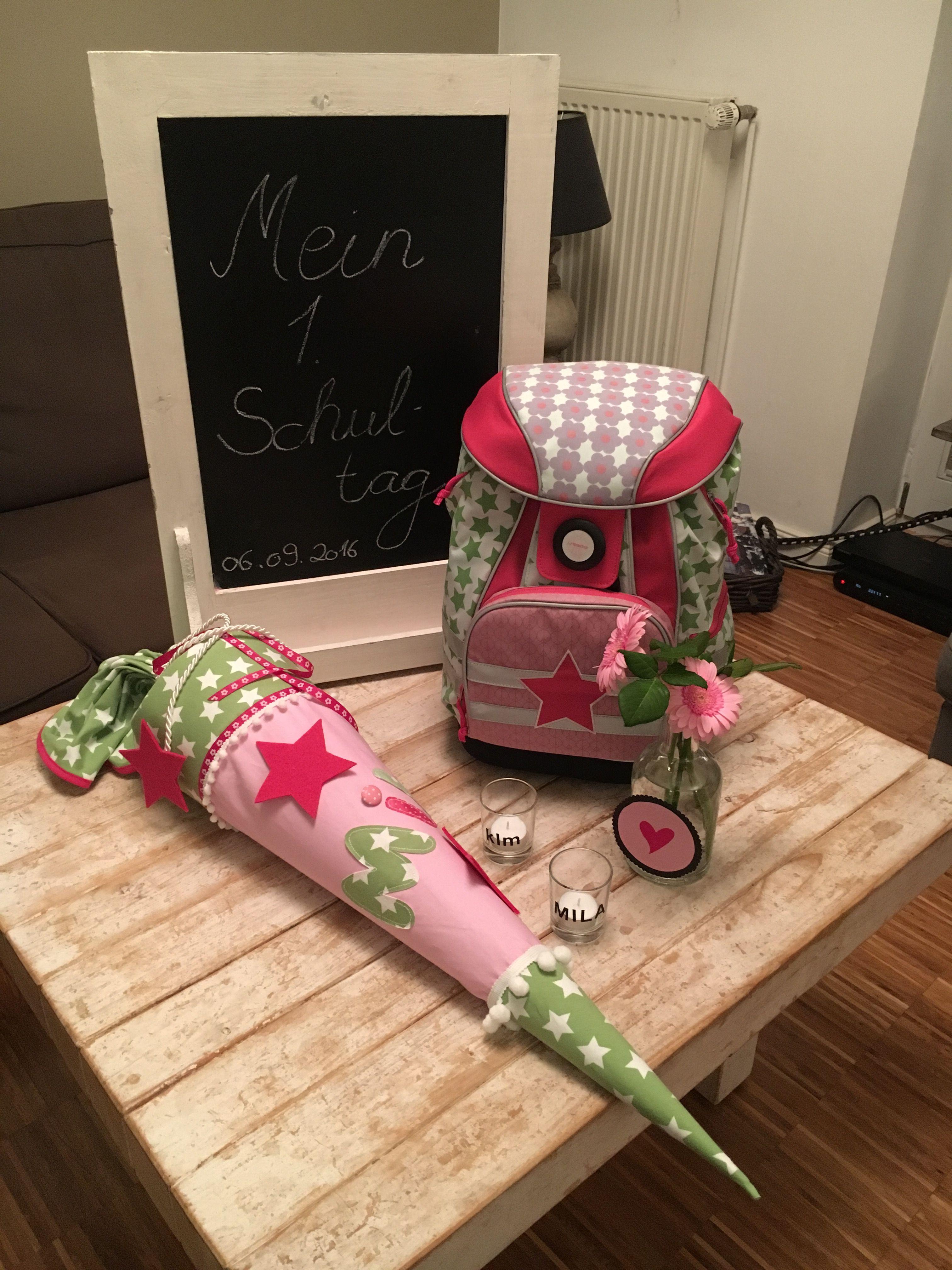 Handgearbeitete Kindergarten-//Geschwistertüte Pilz auch mit Wunschnamen