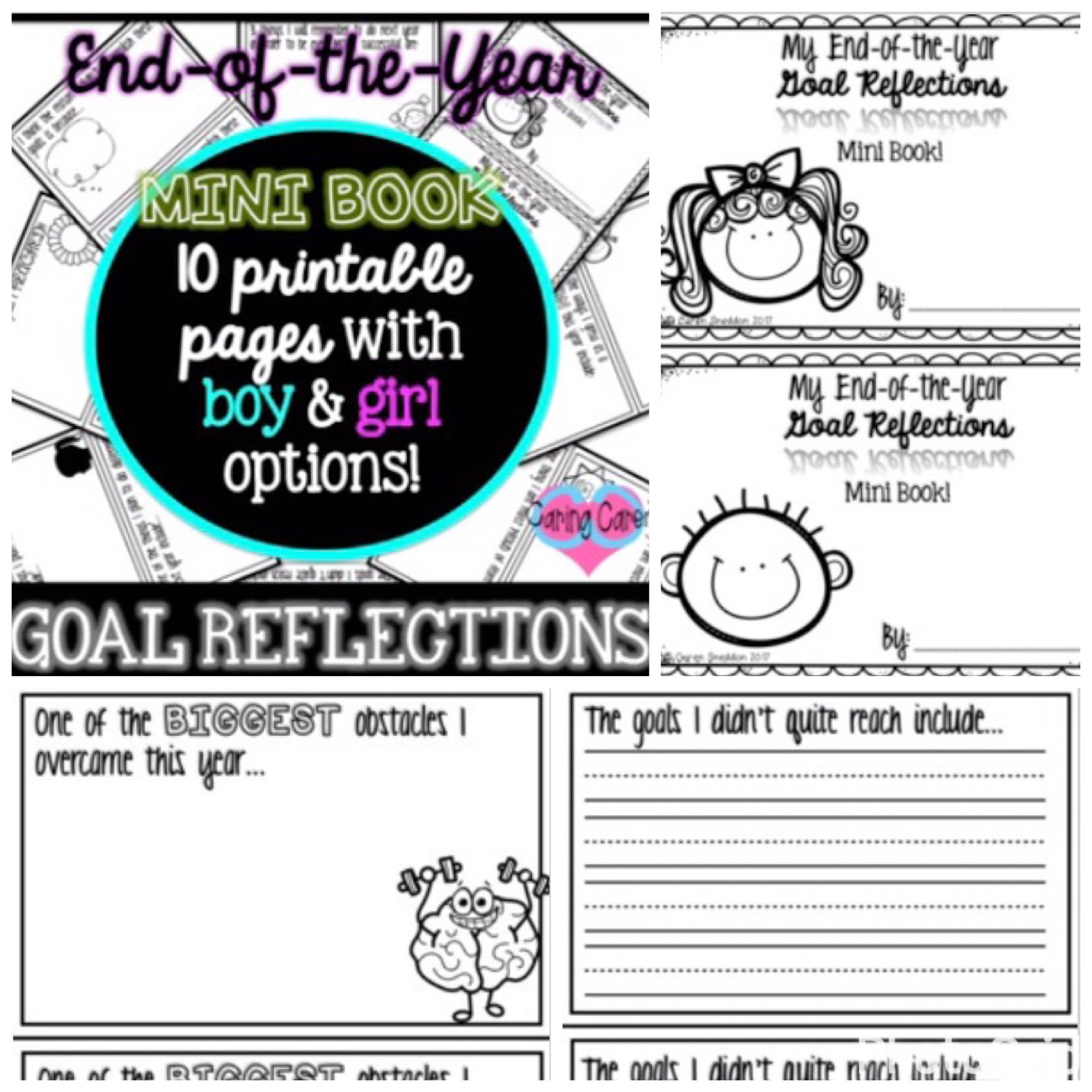 Goal Reflections Mini Book End Of The Year Caringcaren The