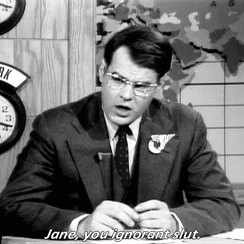 """""""Jane, you ignorant slut. Best Of Snl, Snl Cast Members, Snl Skits, Weekend Update, Star Show, Funny Boy, Old Tv Shows, Prime Time, Saturday Night Live"""