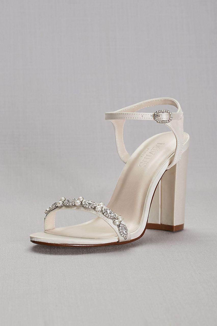 4ca8827631d8 Embellished Satin Block Heel Sandals Style ELSA