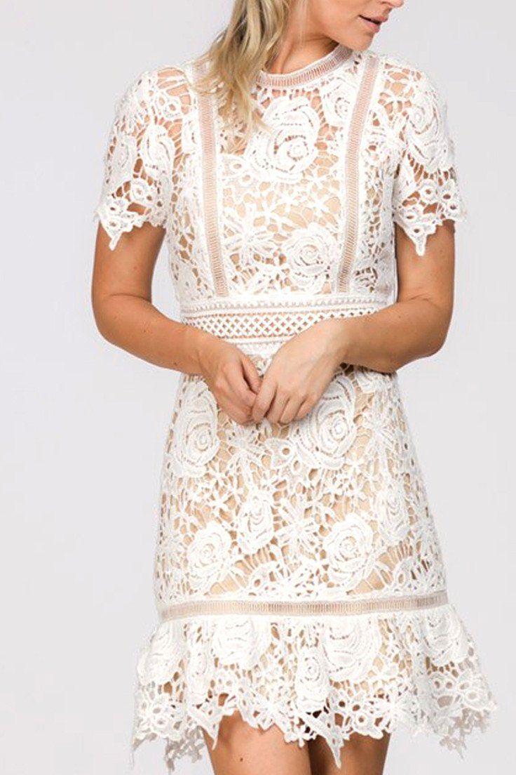 Lace dress styles for funeral  Venus White Crochet Lace Dress