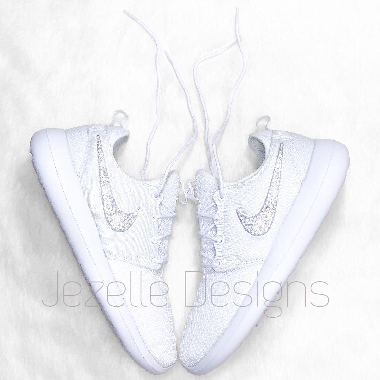 Swarovski Nike Air Force 1 White customized with Pink SWAROVSKI® Xirius Rose Cut Crystals.