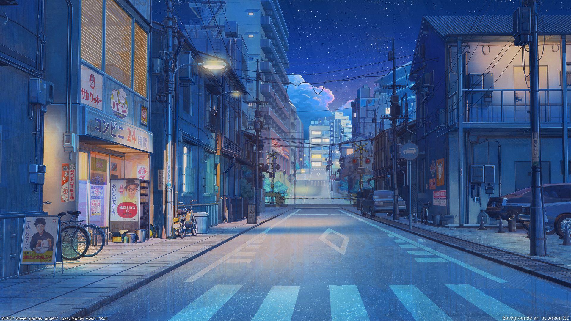 Anime Japanese Street 1920x1080 In 2020 Anime Scenery Wallpaper Anime Scenery Scenery Wallpaper