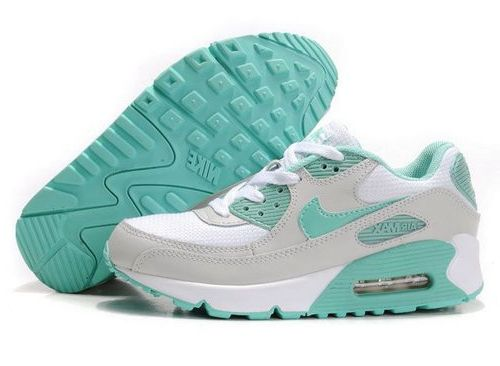 Nike Air Max 90 Womenss Shoes Wholesale White Gray Green Promo Code