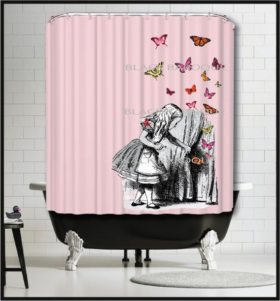 Alice In Wonderland Shower Curtain With By TheBlackDuckie