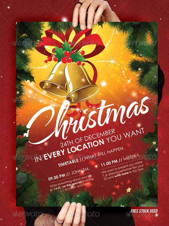 Christmas Wreath Event FlyerPoster Template – Christmas Poster Template