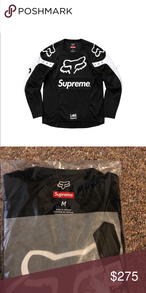 Supreme Fox Racing Moto Jersey Top Black (M) Supreme Fox Racing Moto Jersey  Top Black size Medium from the Supreme Week 12 SS18 drop. 885ed985f8e