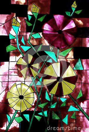 Download Stained Glass Design Stock Image via CartoonDealer. Painting Stylized Open Roses Buds Shades Green Red Yellow Black Myself Many Years Ago. Zoom into our collection of high-resolution cartoons, stock photos and vector illustrations. Image:44396989