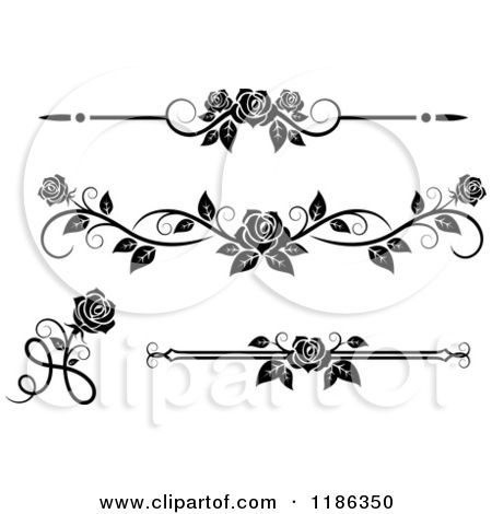 Clipart Of Black And White Ornate Rose Borders And Page Rules Flower Border Clipart Black And White Roses Clip Art Borders
